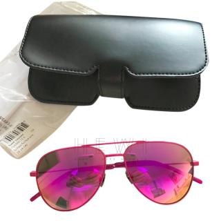 Saint Laurent Pink Aviator Sunglasses