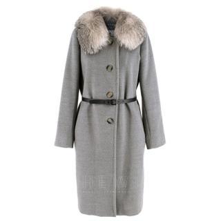 Marella Detachable Fur Collar Grey Wool Coat