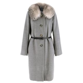Marella Detachable Fur Collar Grey Wool Coat