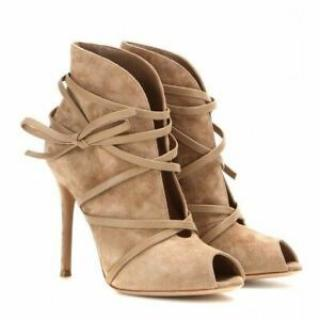 Gianvito Rossi Open-Toe Suede Ankle Boots