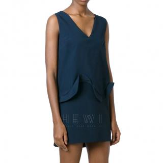 Coperni Ruffle-Front Black Sleeveless Dress