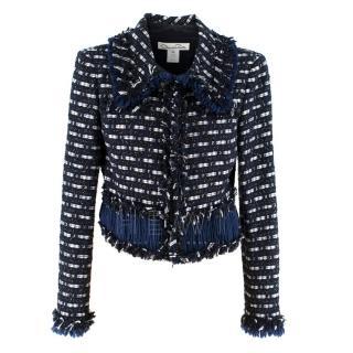 Oscar De La Renta Frayed-Edge Tweed Jacket