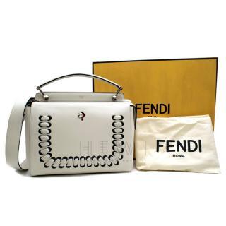 Fendi DotCom Laced Ivory Leather Shoulder Bag