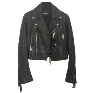 DSquared Fringed Black Leather Jacket