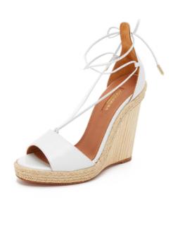 Aquazzura White Leather Ankle-Tie Wedges