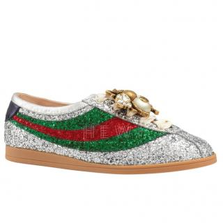 Gucci Falacer Detachable-Bee Glitter Trainers - Current Season