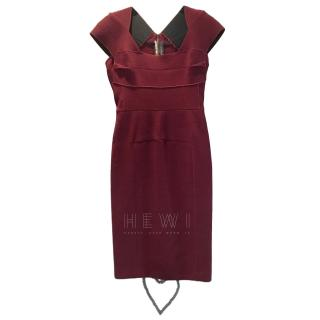Roland Mouret Burgundy Wool Crepe Dress