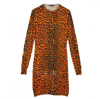 Christopher Kane Leopard Print Silk and Cashmere Dress