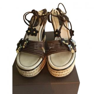 Louis Vuitton brown suede and rope wedge sandals