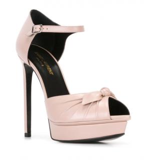 Saint Laurent Jane Bow Leather Peep-Toe Platform Heels