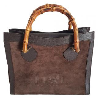 Gucci Vintage Bamboo Suede & Leather Tote