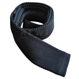 Hugo Boss black silk tie in knitted pique