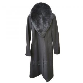 DVF black wool coat with fox fur collar