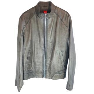 Hugo Boss brown lambs leather biker jacket