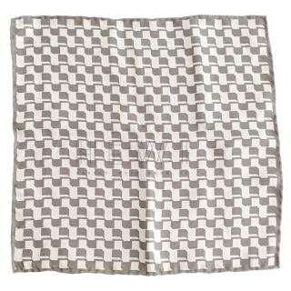 Hugo Boss gray and white check silk square