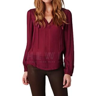 DVF dark red silk and cotton long sleeved blouse