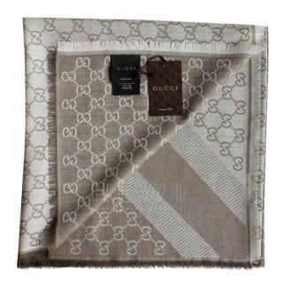 Gucci Beige GG wool and silk scarf/shawl