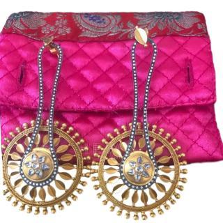 Amrapali  diamond and gold star wheel earrings