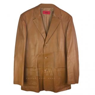 Hugo Hugo Boss Tan Leather Blazer