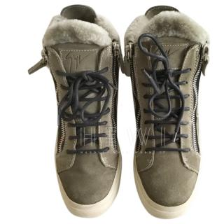 Giuseppe Zanotti Shearling-Lined High-Top Trainers