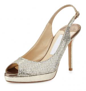 Jimmy Choo Silver Snakeskin Slingback Nova Sandals