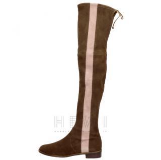 Stuart Weitzman Contrast-Panel over-the-knee Suede Boots