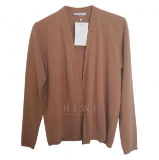 MaxMara Camel-Brown Open-Front Cardigan