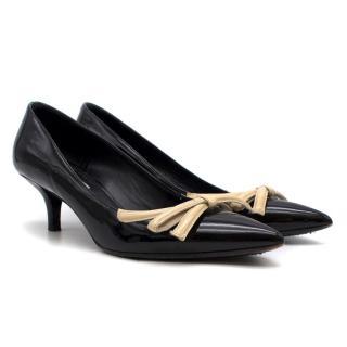 Prada Black Patent Heels With Ivory Bow