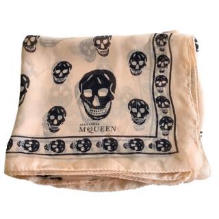 Alexander McQueen Silk Chiffon Skull Print Scarf