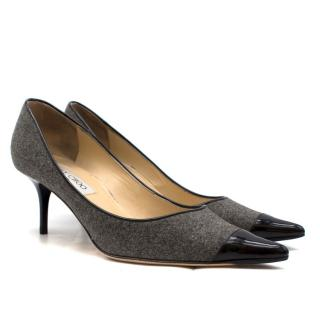 Jimmy Choo London Grey Wool & Black Patent Leather Pumps
