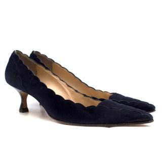 Manolo Blahnik navy blue suede scalloped kitten heel pumps