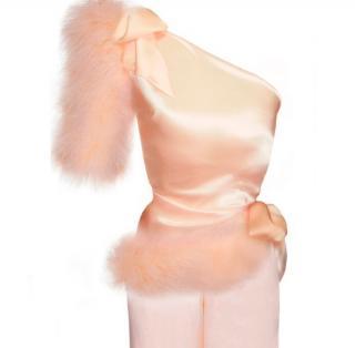Maguy de Chadirac One Shoulder Pyjama Top in Blush Pink