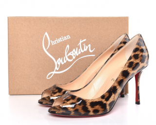 Christian Louboutin Yootish 100 Patent Leopard Pumps