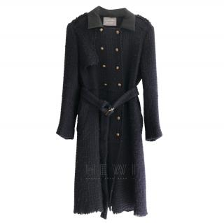 Lanvin Navy Boucle Double Breasted Coat