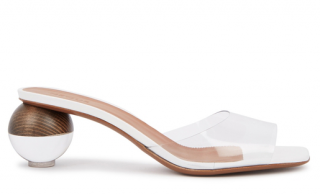 Neous Opus White Leather & Perspex Mules