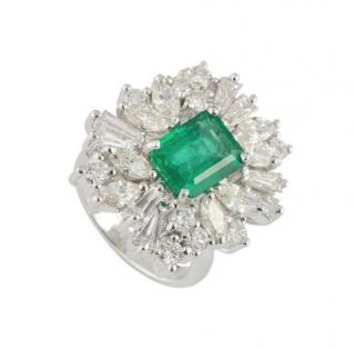 Bespoke White Gold Diamond and Emerald Ring