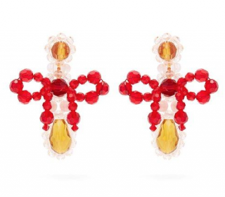 Simone Rocha Bow Crystal-Beaded Drop Earrings