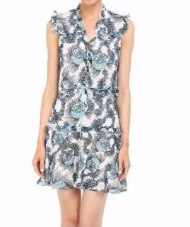 Just Cavalli Seashell print ruffled chiffon dress