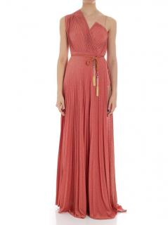 Elisabetta Franchi Peach Pleated Maxi Dress