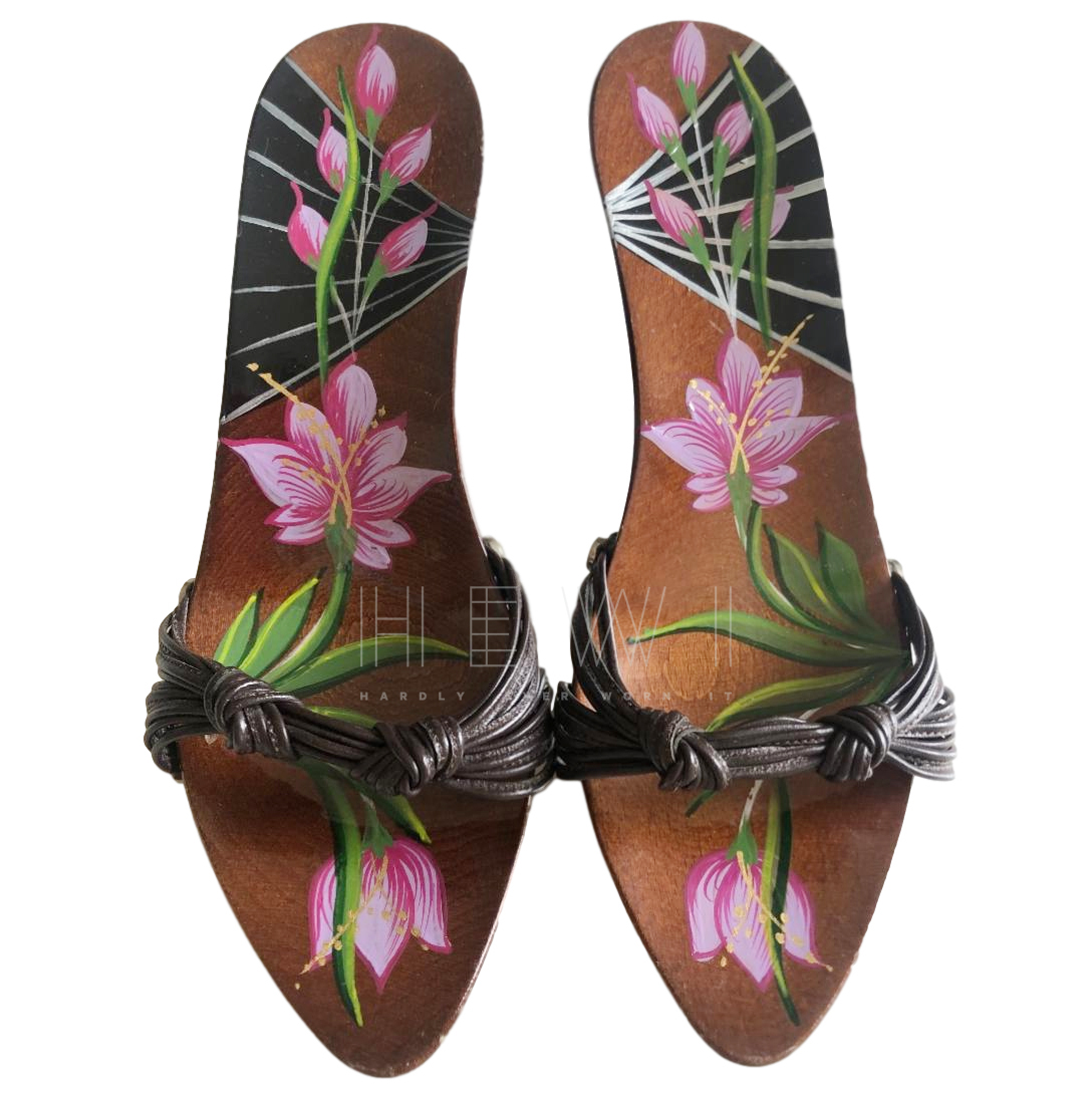 Christian Dior Hand Painted Platform Mules