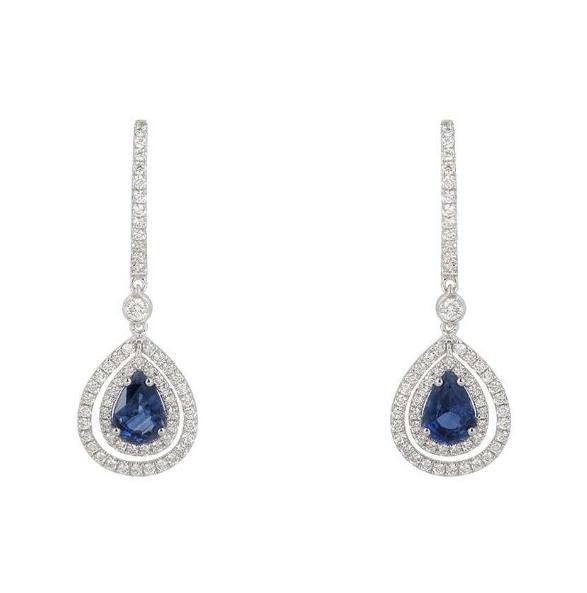 Bespoke 18K White Gold Sapphire & Diamond Earrings