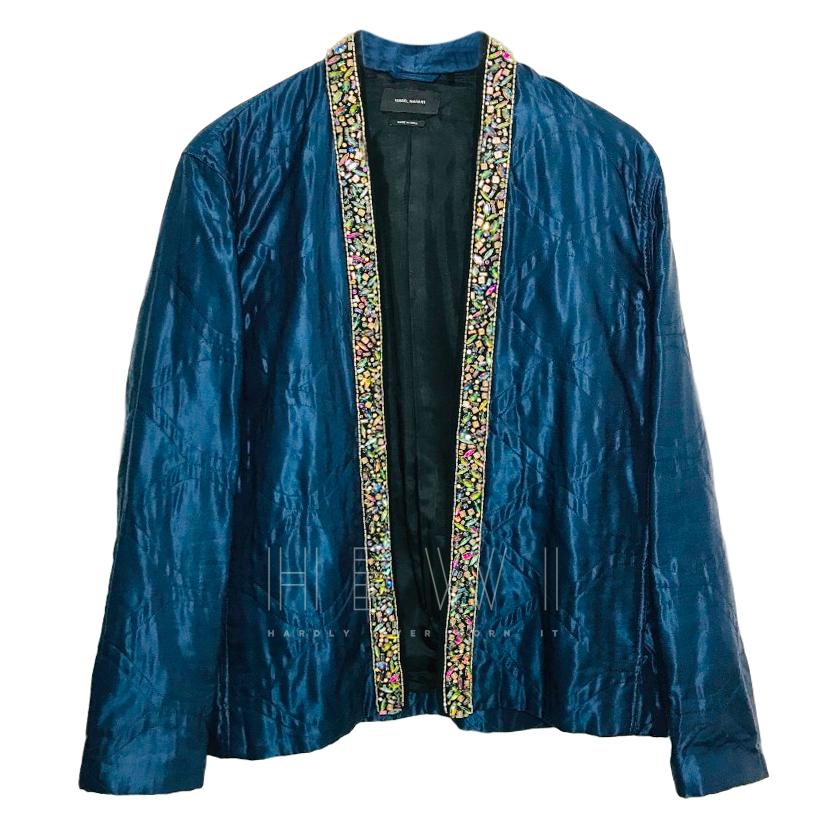 Isabel Marant Blue Silk Embellished Trim Jacket