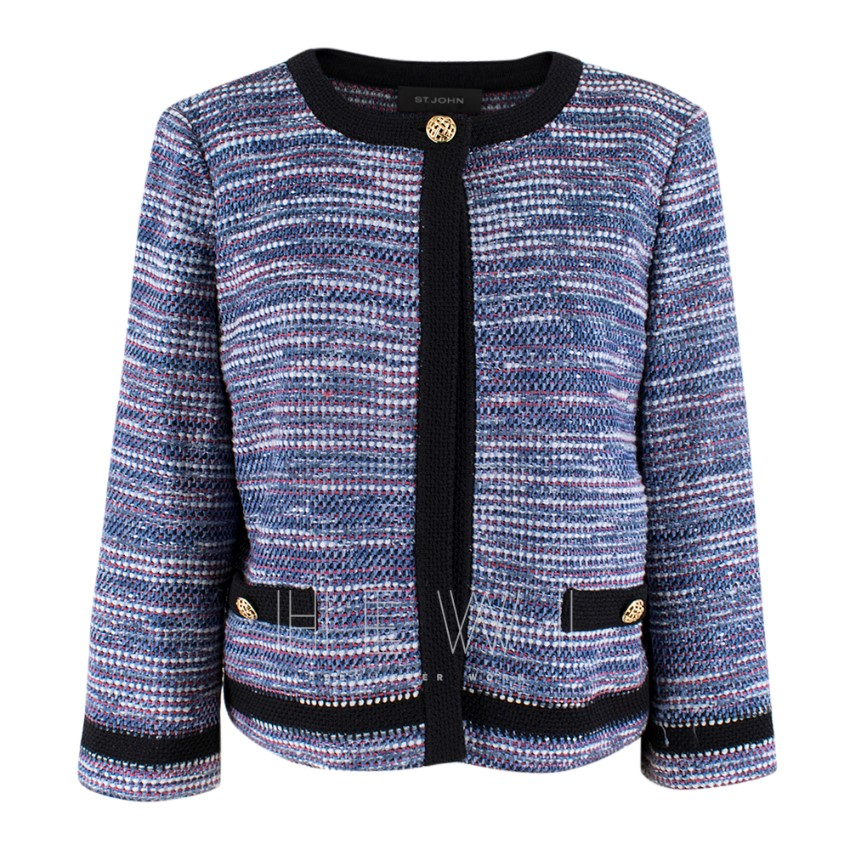 St.John blue flecked tweed jacket with black trim