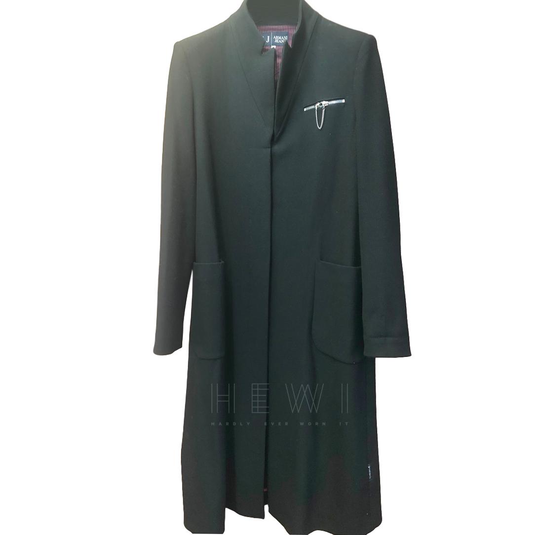Armani Jeans Single Breasted Black Zip Detail Coat