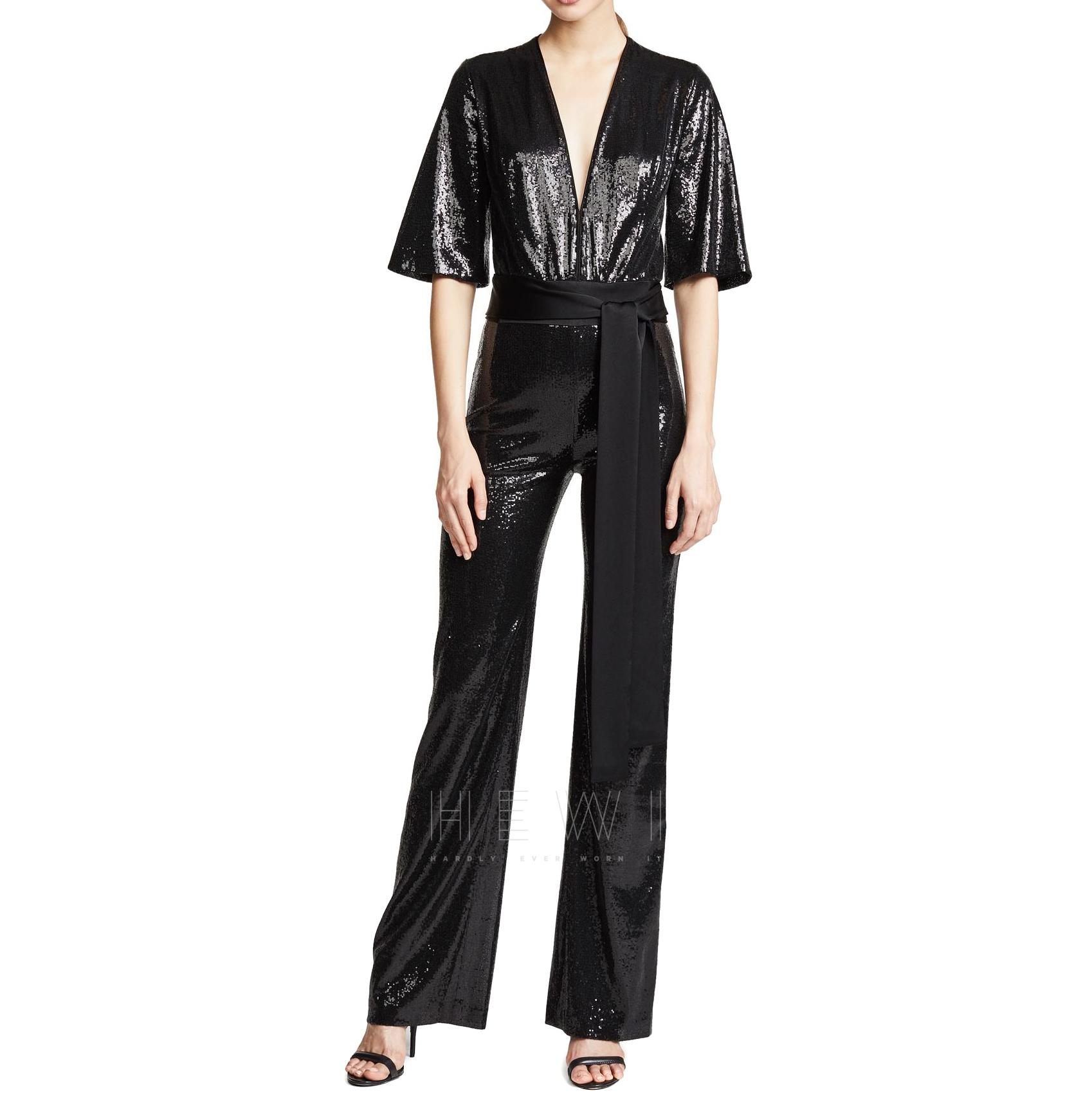 release date: big clearance sale available Galvan London Black Sequined Waist-Tie Jumpsuit