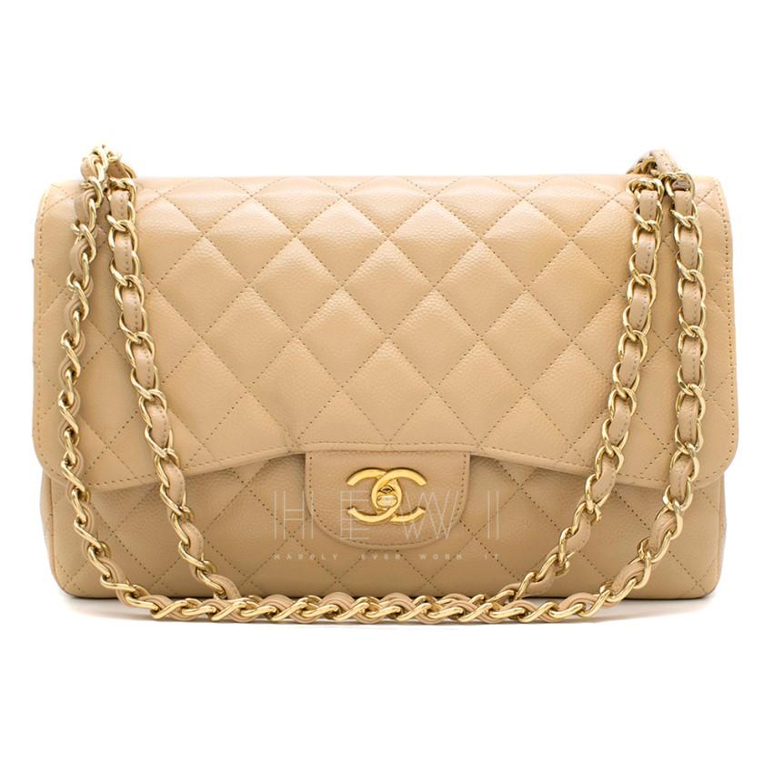 Chanel Beige Clair Lambskin Classic Jumbo Double Flap