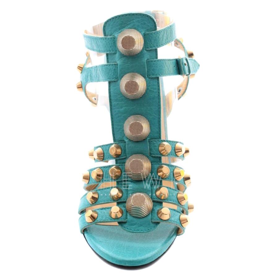 Balenciaga Turquoise Wedge Rockstud Sandals