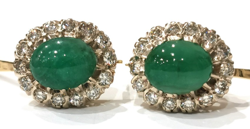 Antique Russian cabochon 8ct emerald and european cut diamond earrings
