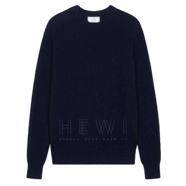 Ami fisherman's rib knit crew neck sweater