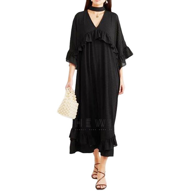 Ganni Black Ruffled Seersucker Midi Dress